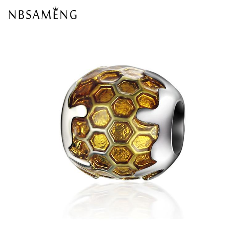 2018 New 925 Silver Golden Honey Charm Beads Charm Fit Original Pandora Charm Bracelet Necklace Diy Wholesale Jewelry Making Beneficial To Essential Medulla