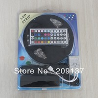 Waterproof 5M/Roll RGB 5050 SMD 60 Leds/M 300leds led Strips Light +44 Key IR + 5 A Power Free Shipping