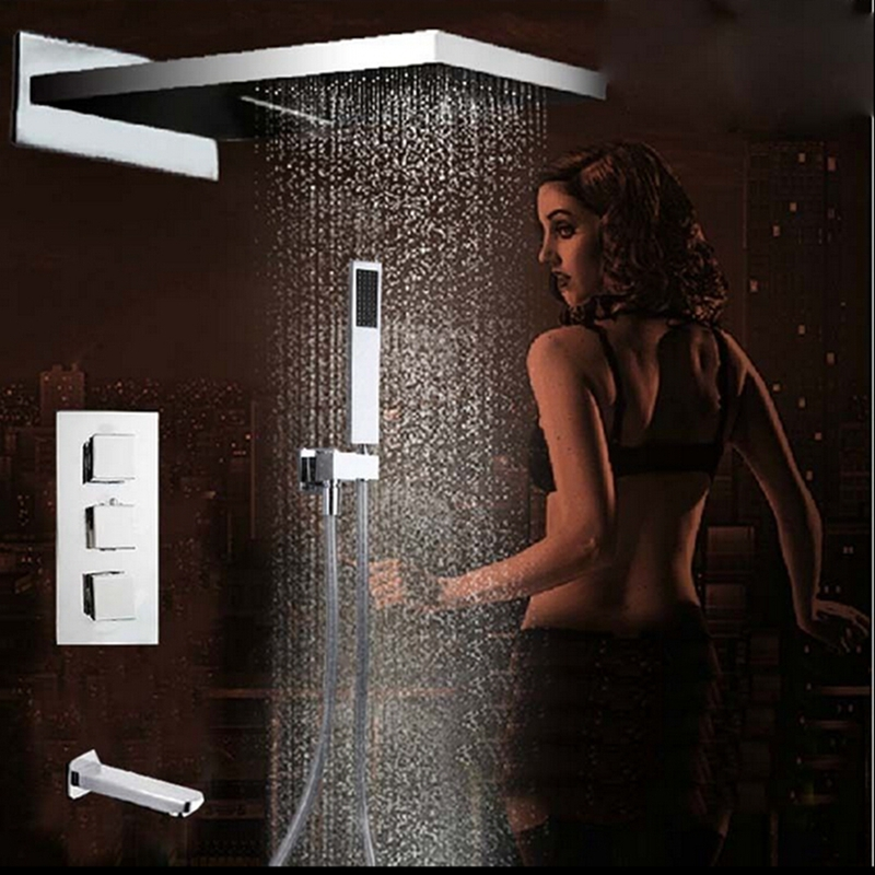 4 Ways Waterfall Rain Shower Head Faucet Thermostatic Valve Tub Spout Hand Unit