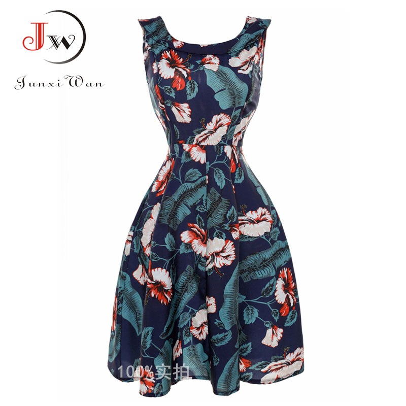 Women Floral Print Dress Audrey Hepburn Vintage 50s 60s Dresses Swing Rockabilly Retro Pinup font b