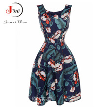Femmes imprimé floral dress audrey hepburn vintage 50 s 60 s robes swing rockabilly rétro pin-up robe femme ete 2017 d'été dress