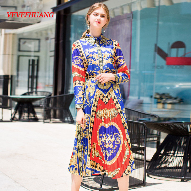 VEVEFHUANG Autumn New Skirt Suit Women's Long Sleeve Vintage Gold Printed Blouse + Long Pleated Skirts Two Piece Set