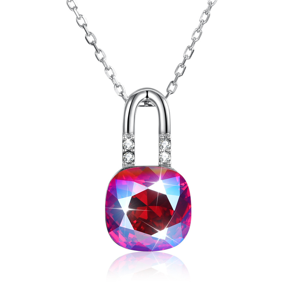 S925 Sterling Uses Austria Elements European  American Sterling Silver 925 Lock Crystal Necklace Cross-border AccessoriesS925 Sterling Uses Austria Elements European  American Sterling Silver 925 Lock Crystal Necklace Cross-border Accessories
