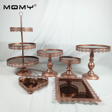 Wedding 6 pcs Metal Dessert Mirror Cake Stand For Wedding&event Party Decoration
