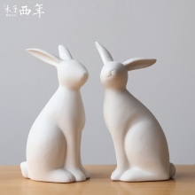 Nordic ceramic white rabbits lovers figurine home decor crafts room decoration wedding rabbit ornament porcelain animal