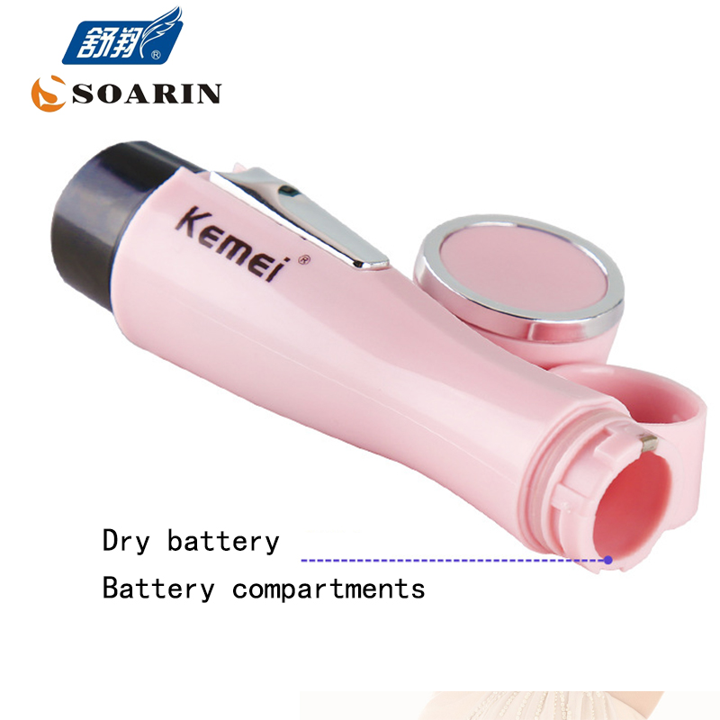 KEMEI Mini Epilator Bikini Women AAA Battery Electric Epilator Hair Removal Body Lady Shaver Trimmer for Women Face Electric ckeyin 2in1 wet dry epilator women shaver depiladora mini hair removal electric nose ear trimmer bikini underarm painless shaver