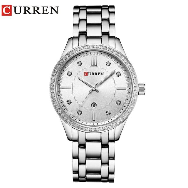 CURREN 2018 نساء ساعات جديدة فاخرة عادية ساعة كوارتز بسيطة كامل الصلب تاريخ أنثى ساعة هدية Relogio Feminino Montre فام