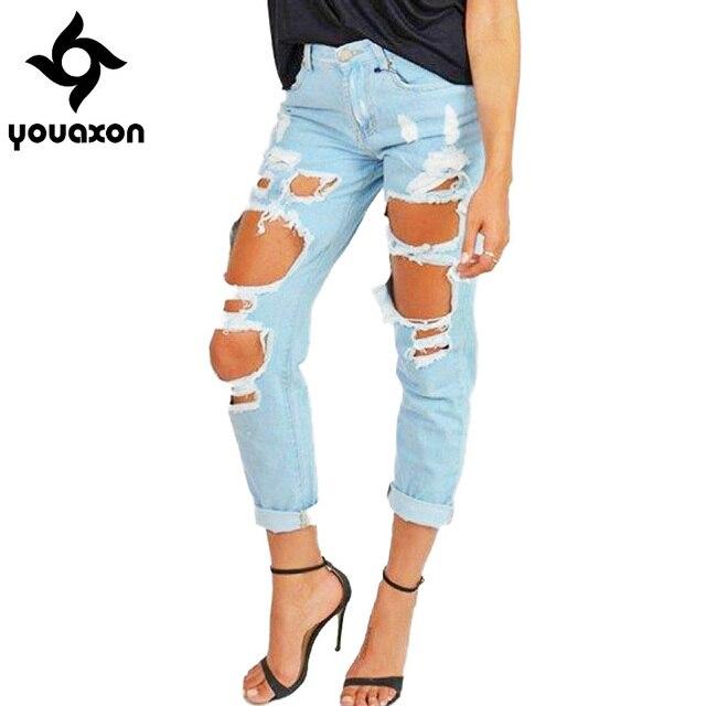dae18c0b584 1879 Youaxon Women`s Boyfriend Torn Holes Mid Waist Light Blue True Denim  Capris For Women Ripped Jeans