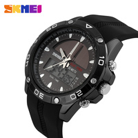 SKMEI Solar Digital Watch Dual Display Quartz Men Sports Watches LED Outdoor Military Clock Waterproof Wristwatches