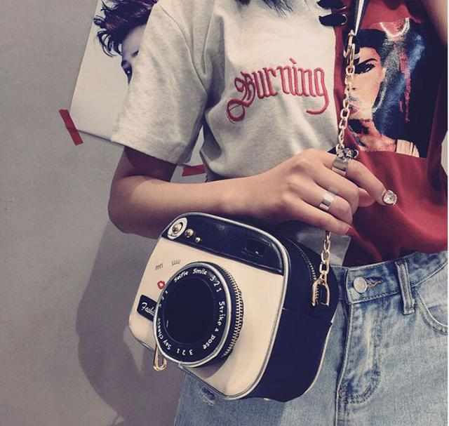 2019 girl vintage fashion lady camera shoulder bag women handbag chain messenger female crossbody bag