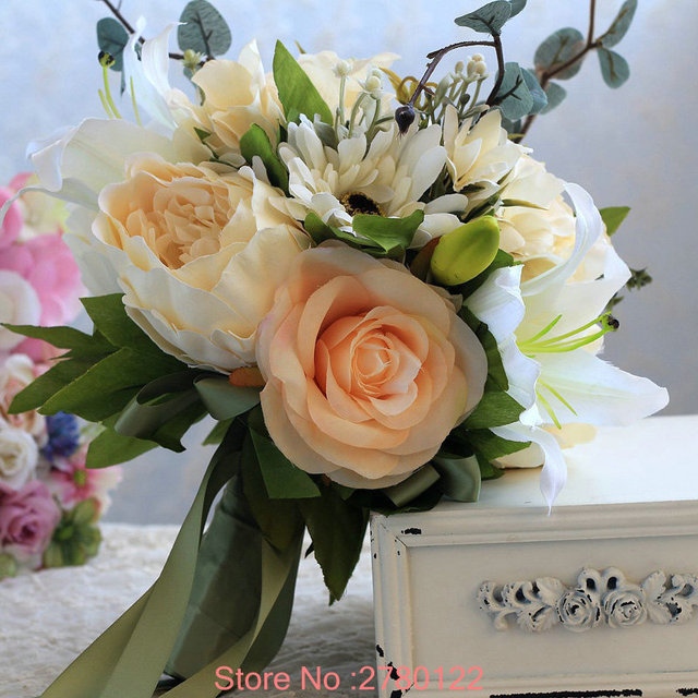 Vintage Boho Wedding Bouquets Bridal Artificial Flowers Beautiful Ribbon Country Flower