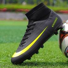4355493e8a410 Tobillo altos Tops fútbol botas de fútbol picos largos y cortos Spikes hombres  fútbol zapatos zapatillas césped cubierta futsal