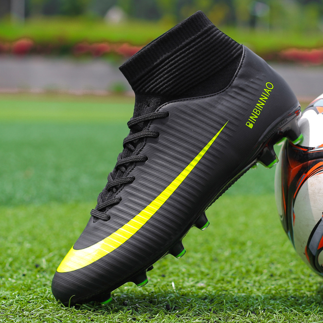 d9157474a3e9 Ankle High Tops Soccer Cleats Boots Football Boots Long Spikes & Short Spikes  Men's Football Shoes Sneakers Indoor Turf Futsal