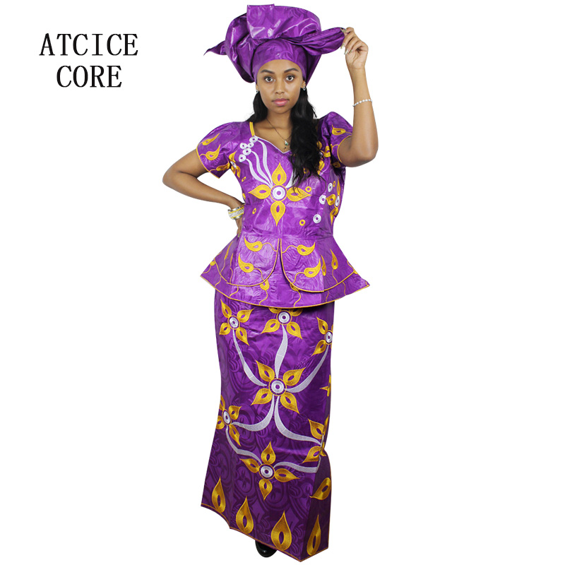 Capable African Dresses For Women New African Bazin Riche Embroidery Design Short Rapper With Scarf Three Pcs African Clothes Dp46#