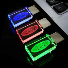 Crystal Transparent USB Flash Drive for Ford Car Logo with LED Light 4GB-32GB USB 2.0 Flash Memory Stick Pen/Thumb Drive