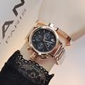 Wristwatches Waterproof Women's Watches Quartz-Watches  Stainless Steel Bracelet Creative Big Dial Watch Handsome Neutral