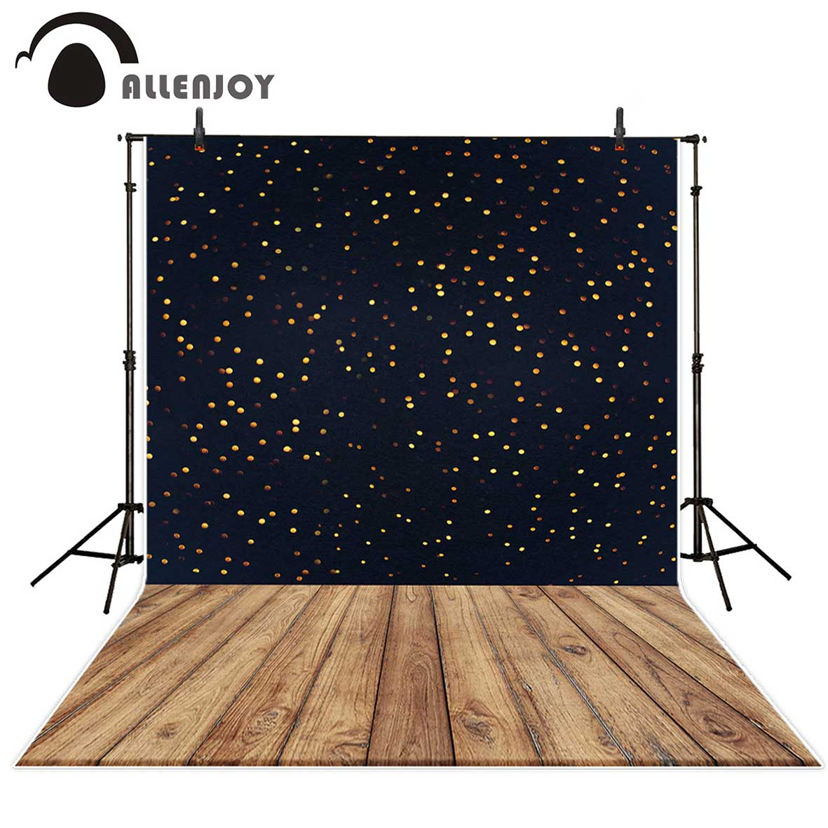 Allenjoy photography backdrops Black background gold bokeh dots wooden board backgrounds for photo studio for baby