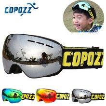 COPOZZ/брендовые лыжные очки для детей от 4 до 15 лет, Профессиональные противотуманные детские очки для сноуборда, двойные UV400, Детские Лыжные маски, очки