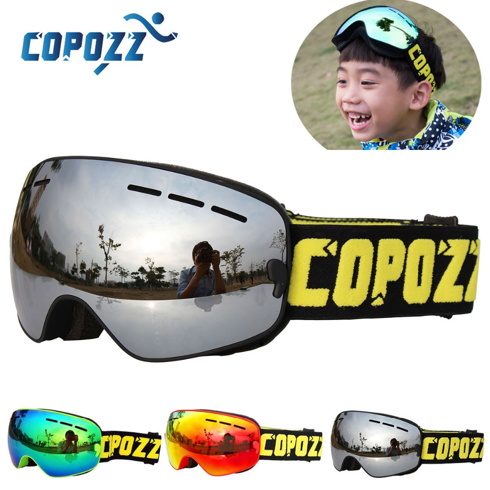 COPOZZ Brand Kids Ski Goggles 4-15 Years Old Professional Anti-fog Child Snowboard Goggles Double UV400 Kids Skiing Mask Glasses