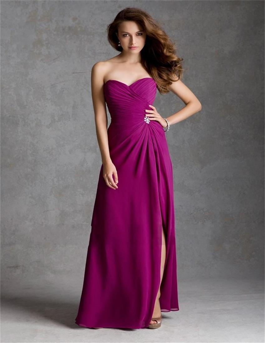 Hot Sale Pink Fuschia Long Bridesmaid Dresses 2017 Sweetheart Formal ...