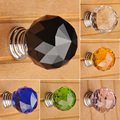 30mm Round K9 Crystal handles Cabinet Door Drawer Glass knob Wardrobe Pulls and furniture Handle knobs and pulls for cabinets