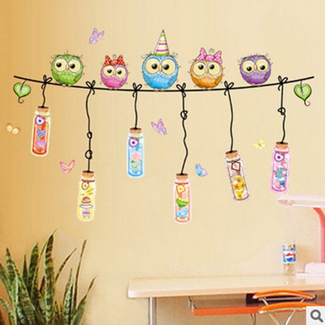 Children Room Kindergarten Classrooms The Cartoon Animals Wall Post Owls Sofa Decorative Stickers