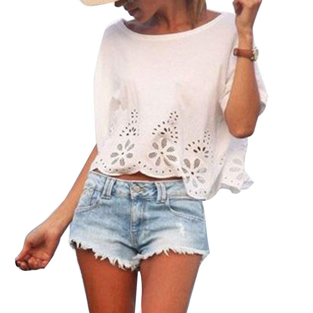 Verão Mulheres Casual Chiffon Blusa Camisa de Manga Curta Verão Tops Branco  S M L 22dbe4f88fe78