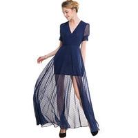 Women Autumn Elegant V-neck Short Sleeve Vintage polka dot chiffon Cocktail Party Bodycon Long Dress