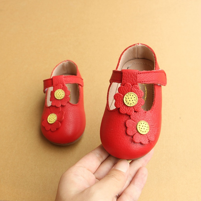 Baby First Walkers Baby Shoes Genuine Leather Non-slip Sun Flower Toddler Shoes for Baby Girls