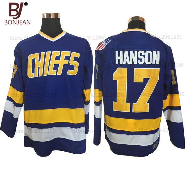 BONJEAN Wholesale  17 Steve Hanson Charlestown Chiefs Ice Hockey Jersey  Retro Stitched Movie Hockey Jerseys Blue For Men 1d5c983e3