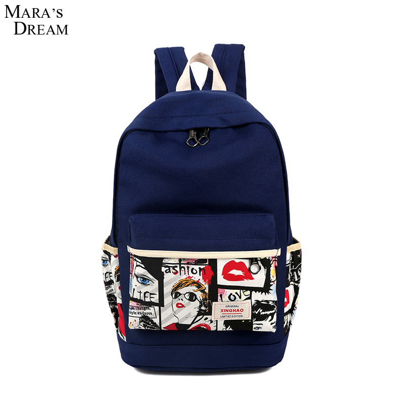 Mara's Dream Women Canvas Backpack Cute Patchork Printed Graffiti Backpacks Students Shoulder Preppy Style Travel Bag Rucksack