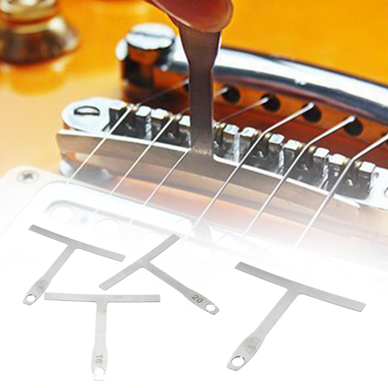 sturdy practical silver metal string distance measurement measuring tool electric guitar card. Black Bedroom Furniture Sets. Home Design Ideas