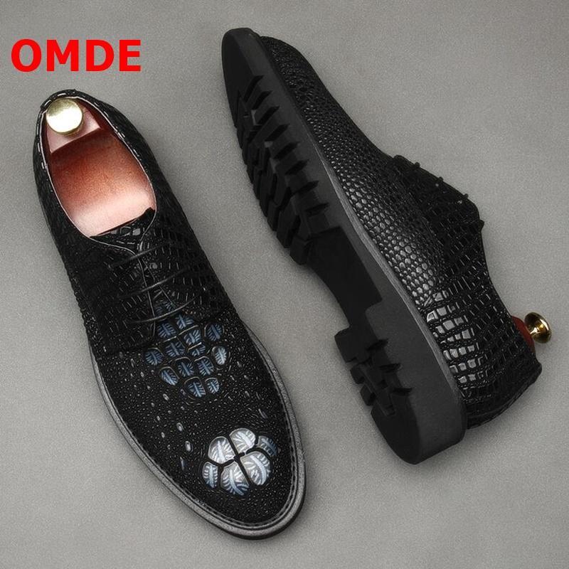 OMDE Luxury Fashion Round Toe Lace-up Derby Mens Dress Shoes Genuine Embossed Leather Men Formal Shoes Business Office Shoes