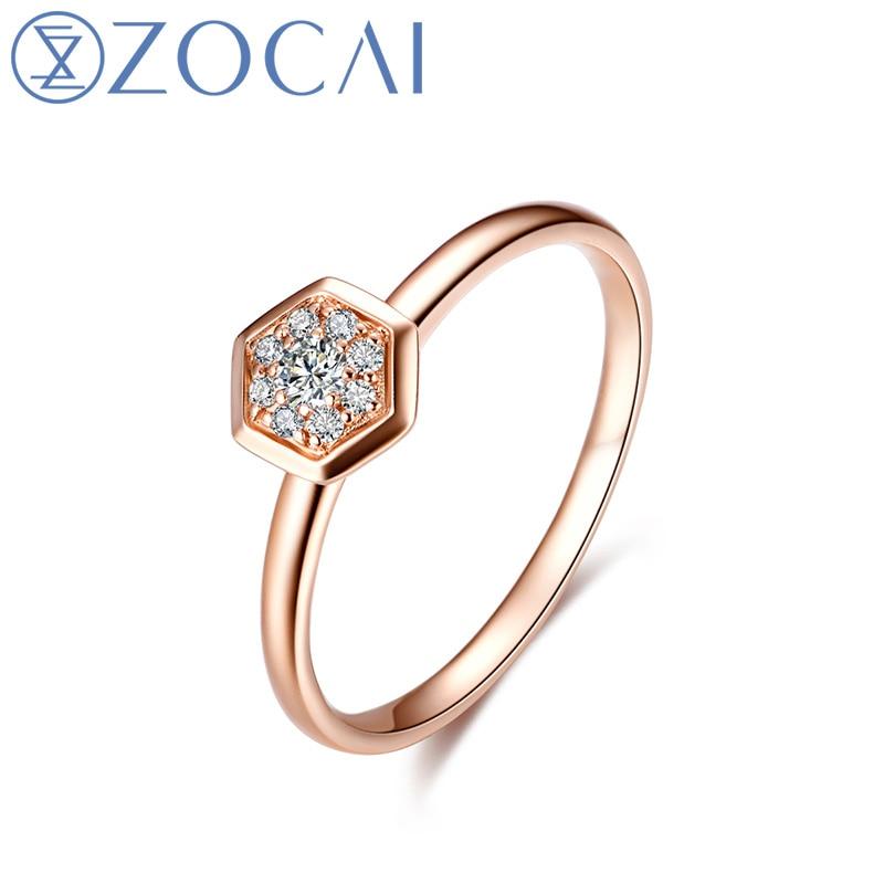 ZOCAI БРЕНД кольцо вафельная серии Real 0.07 карат кольцо с бриллиантом 18 К розовое золото (Au750) JBW90227T