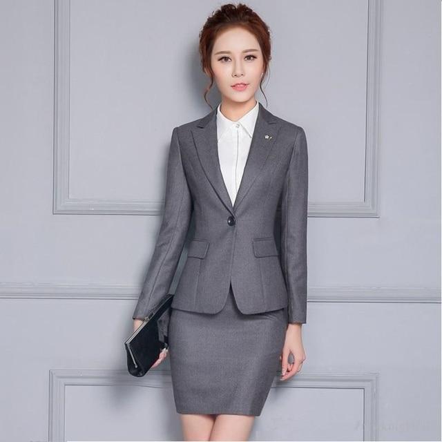 b0fb98380d1c Gris Veste Jupe Femmes D affaires Travail Costumes Bureau Femme Uniforme  Mince Dames Formelle Veste