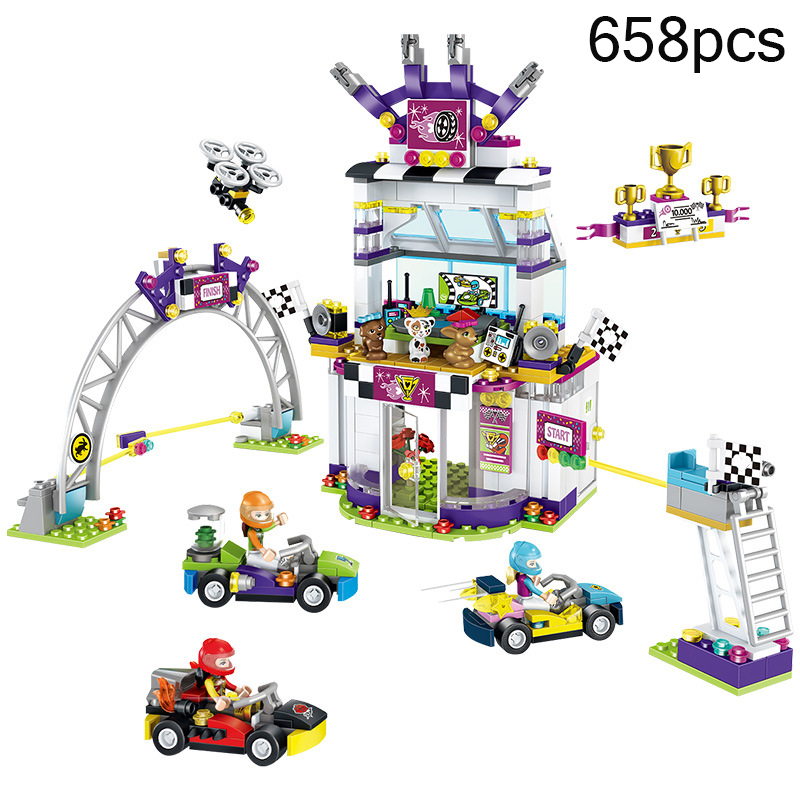 658pcs Girl Friends Heartlake City The Big Race Day Karting Model Building Block Compatible Legoing Friends Bricks Kids Toy Gift toy 10166 friends series heartlake city school model building kit blocks bricks girl toy gift compatible with toys