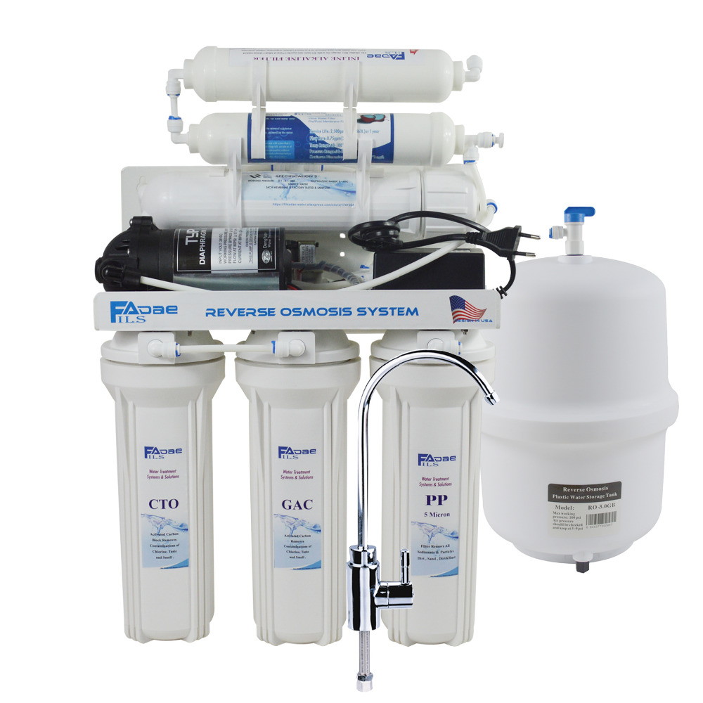 6-Stage Under-Sink Reverse Osmosis Drinking Water Filtration System with Alkaline Remineralization Filter/Power:100-240V - 75GPD цена