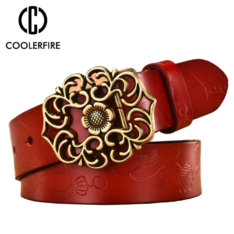 COOLERFIRE Ladies Leather   Belt   Wide Genuine Leather   Belt   Luxury Jeans   Belts   Female Top Quality Straps Ceinture Femme LB019