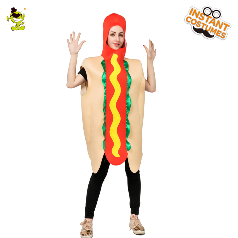 3b5e5f6cb6d New Ladies Hot Dog Costume Women s Funny Food And Cute Jumpsuit In Carnival Party  Role Play