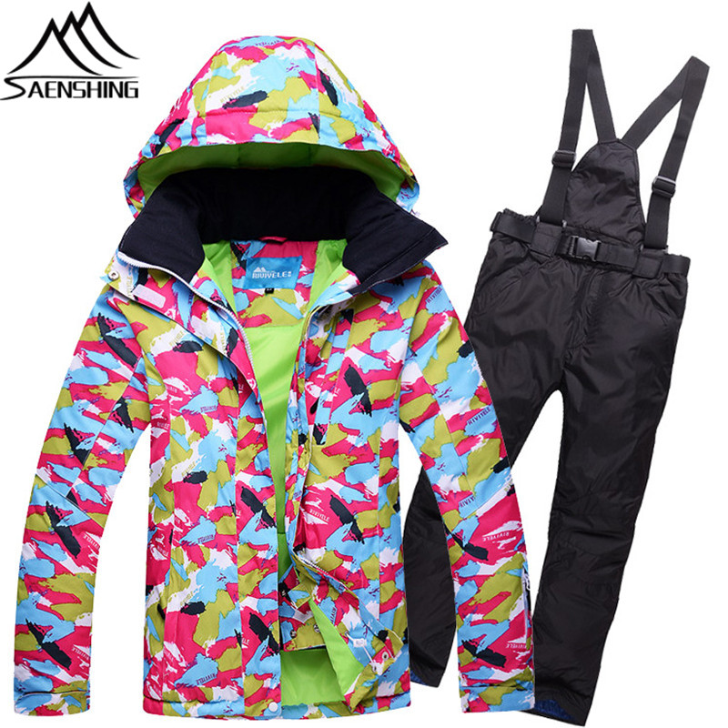 2017 New Ski Suit Women Colorful Graffiti Ski Jacket + Snow Pants Outdoor Super Warm Waterproof Mountain Skiing Suit for Female brand gsou snow technology fabrics women ski suit snowboarding ski jacket women skiing jacket suit jaquetas feminina girls ski