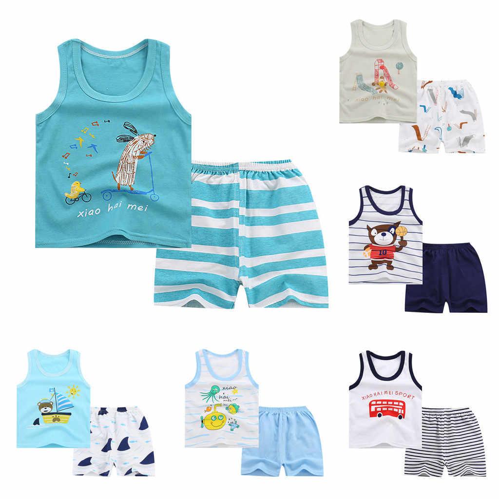 Baby Boys  Kids Sleeveless Cartoon Tracksuit Sport Suit Vest Pants Clothing children clothes toddler clothes boys summer set