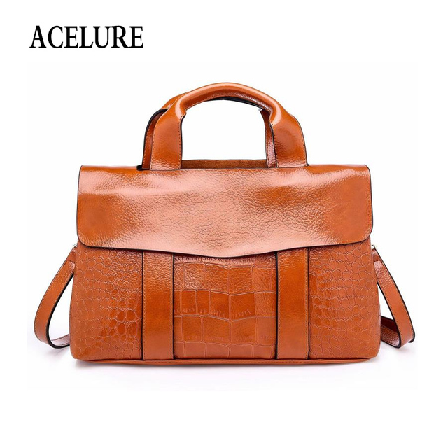 Acelure Simple Style Women Shoulder Bags Solid Color Alligator Pu Leather Las Handbags Moto Biker