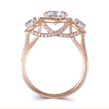 DovEggs 3 Stones Engagement Ring For Women 14K Rose Gold Center 1.5ct 7.5mm F Color Halo Moissanite Wedding Rings Fine Jewelry 1