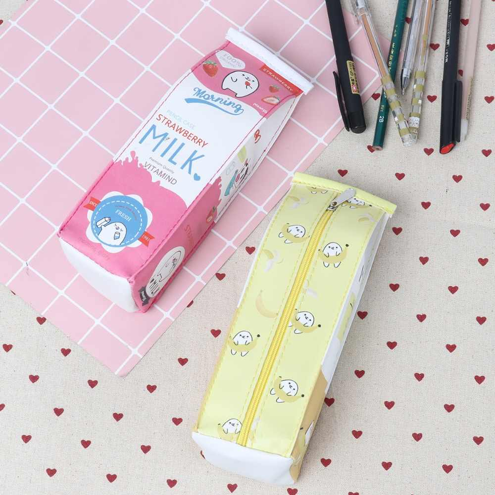 Cute Milk Box Style Pencil Bag Yellow Color Pouch Makeup 5*6*20CM Pen Case for School Students Canvas Pens Cases Bag