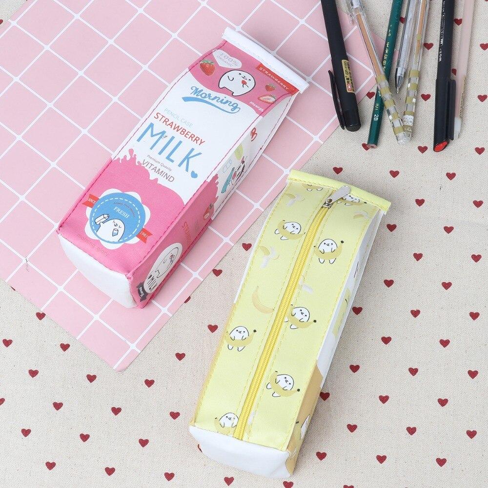 Cute Milk Box Style Pencil Bag Yellow Color Pouch Makeup 5*6*20CM Pen Case For School Students Canvas Pens Cases Bag
