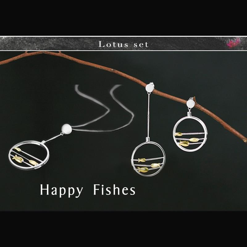 연꽃 재미있는 진짜 925 스털링 실버 크리 에이 티브 수제 고급 보석 귀여운 움직이는 해피 물고기 쥬얼리 세트-에서보석 세트부터 쥬얼리 및 액세서리 의  그룹 1