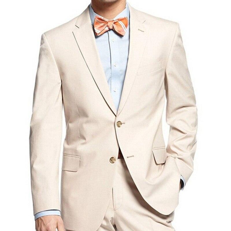 Beige hommes costumes hommes d'honneur marié hommes costume encoche revers marié Tuxedos 2017 mariage meilleur homme costume (veste + pantalon + cravate + mouchoir)