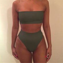 High Leg Set Swimwear female two pieces solid swim suit High Waist Women Bathing Suit 2019 plus size Summer Strapless Dress(China)