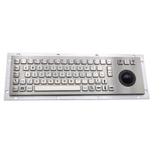 Stainless Steel Industrial Metal Keyboard With Trackball 36mm Conductive Rubber Rugged Panel Mount Keypad For Information Kiosk(China)