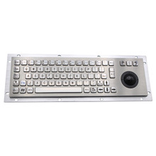 Stainless Steel Industrial Keyboard With Trackball 36mm Mini Size Ruggedized Panel Mount Keypad For Information Kiosk metal kiosk keyboard with touchpad stainless steel keyboards weatherproof keypads industrial keyboards ruggedized keyboards
